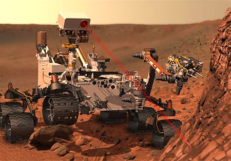 "The ""Curiosity"" rover in Mars (artist's rendition)"